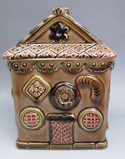 Vintage cookie jar figural gingerbread house brown pink green pottery