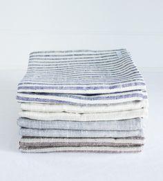 Linen Bath Towels / blue / stripes