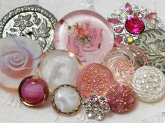 """Assortment of pink vintage buttons - see the """"Victorian shoes"""" button"""