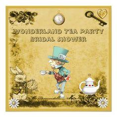 Mad Hatter Wonderland Tea Party Bridal Shower Personalized Invitation