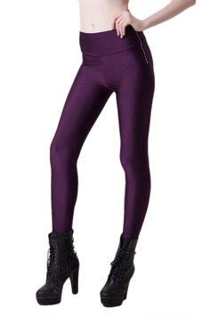 Purple Charming Ladies Fashion Zip High Waist Liquid Leggings pinkqueen.com