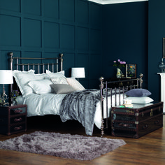 Napoleon bed by Feather & Black in this stand out Nickel looks smart and striking