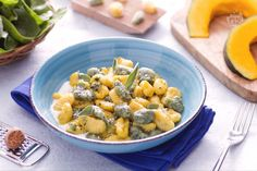 Colored gnocchi with yoghurt sauce