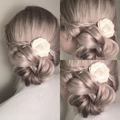 • Up do • #style #braids #hairstyle #inspiration #hairstylist #updo #ashblonde #braidstyles #braid #flower #shirlbraids #longhair #braidideas #braidinspo #christmaslook #holiday #pastel