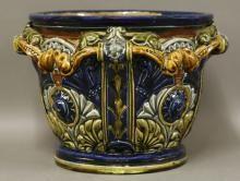 C J C Bailey Fulham Pottery jardinière, designed by John Pollard Seddon, 1877