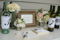 Guest Book Anniversary Wine Bottles