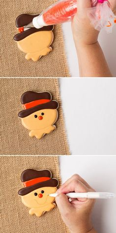 How to Make Simple Scarecrow Cookies with Video Thanksgiving Cookies, Fall Cookies, Cut Out Cookies, Cute Cookies, Holiday Cookies, Cupcake Cookies, How To Make Cookies, Thanksgiving Platter, Cupcakes