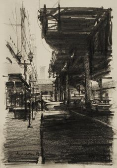 Ben Aronson, Under the El, Chicago, 2014 graphite on board, 8 x 6 inches Drawing Sketches, Cool Drawings, Environment Painting, Charcoal Art, Landscape Drawings, Urban Sketching, Urban Landscape, Art Sketchbook, Painting & Drawing
