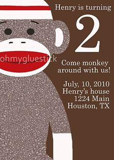 Sock Monkey Party Invitiation