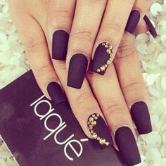 matte black nails with gold strasses