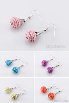 Crochet tiny earrings by Anabelia Crochet Jewelry Patterns, Crochet Earrings Pattern, Crochet Bracelet, Crochet Accessories, Crochet Flower Tutorial, Crochet Flowers, Crochet Art, Crochet Crafts, Tatting Jewelry