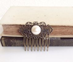 White Pearl Hair Comb Ivory Cream Pearl Comb The Great Gatsby Wedding Bridal Hair Accessory Silver Antique Brass Vintage Style Something Old - Jewelsalem