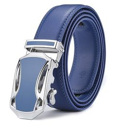 Xhtang Men's Jefferson Buckle with Automatic Ratchet Leather Belt 110cm at Amazon Men's Clothing store: