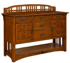 Artisan Ridge Sideboard - Broyhill 4078-514 by Broyhill. $975.00. This mission-styled sideboard features timeless arts and crafts design elements and functional features including:5 drawersFelt-lined top drawersSilverware tray in top center drawerGallery2 doors2 adjustable shelvesBottom shelfDimensions:Sideboard (Broyhill model 4078-514) W 62 x D 20 x H 48