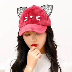 Cute cat baseball cap with ears for girls winter plush hats