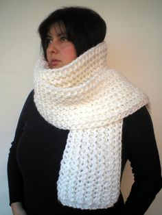 Items similar to White Ivy Scarf Soft mixed Wool Big Neckwarmer Women/Men Fashion Chunky Knit Scarf NEW on Etsy Sweater Scarf, Mohair Sweater, Sweater Outfits, Chunky Knit Scarves, Yarn Inspiration, Neck Warmer, Scarfs, Cowl Neck, Men Fashion