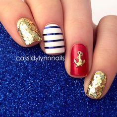 nautical nails - I used Milani 531 Gold, SephoraByOPI Sample Sale, WnW White, blue striping tape and a cute nail charm from @hexnailjewelry  - cassidylynnnails