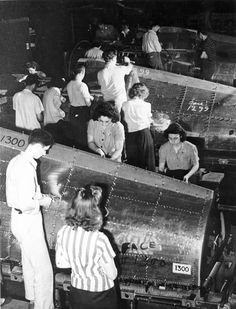 Republic P-47 Thunderbolt workers building fuselages. by aeroman3, via Flickr