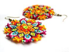 Tropical Macrame Mandala Earrings - Neon knots