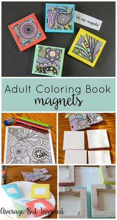 Turn Adult Coloring Book Pages Into Magnets! Turn your adult coloring book pages into magnets! It's a fun way to display your coloring book masterpieces, and a project anyone can make! Click through for supply list and instructions. Craft Projects For Adults, Arts And Crafts For Adults, Easy Arts And Crafts, Arts And Crafts Projects, Book Crafts, Crafts To Make, Diy Crafts, Craft Ideas, Beaded Crafts