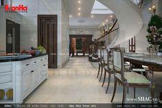 Bộ bàn ăn với đường nét uốn lượn đồng bộ phù hợp với không gian bếp theo phong cách cổ điển đem lại sự sang trọng