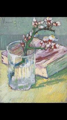 Van Gogh, Almond blossom in a glass with a book, March 1888. Oil on canvas, 24x19cm, private collection. Via Van Gogh: The Life on Facebook and Twitter.