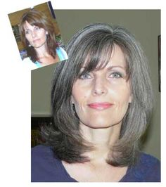 Going gray makes little difference in her look. Except, mother nature softens the color, which enhances older skin tones as opposed to the stark dark tones that come with coloring.