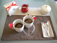 hand made place mats, personalized mugs special edition the for two