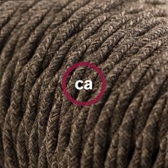 Twisted Electric Cable covered by Natural Brown Linen TN04