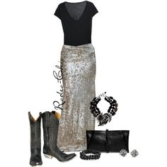 """Dolly """"Would"""" by rodeo-chic on Polyvore;Cowboy Boots by @oldgringoboots; sequin maxi skirt; Western; Country"""