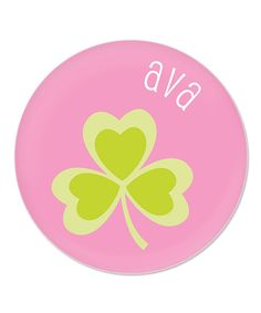 Use this for shirt... hearts for shamrock! --- This Pink Shamrock St. Patrick's Day Personalized Plate by sarah + abraham is perfect! #zulilyfinds