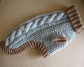 Artículos similares a Made to Order - Dog Sweater - Cable Knit - Silver Blue and Taupe en Etsy