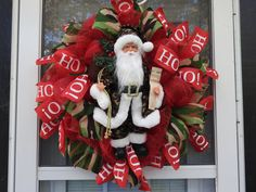 Camouflage Santa Claus  Deco Mesh Wreath by ClancyArt on Etsy
