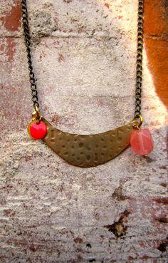 Hammered Antique Finish Necklace // Handmade // by hardlyExpected