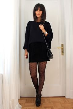 Golestaneh - Street Style: street style 0219: suede high waisted mini skirt, oversized sweater & clogs