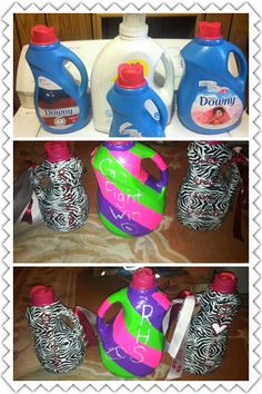 Recycled laundry bottles to make spirit shakers (just add things in the bottle that make noise)!!!