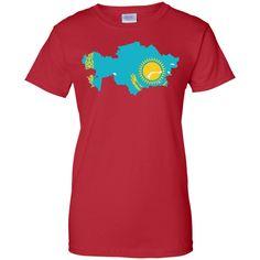 Kazakhstan flag Ladies Custom 100% Cotton T-Shirt