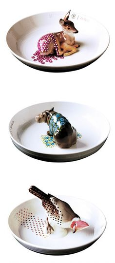 "Each one is so sweet, but the hippopotamus is the most darling.""Cute animal bowls made by Hella Jongerius"""