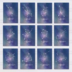 Kiss me under the light of a thousand stars. Having a romantic outdoor wedding under the stars? These may be the perfect table numbers for your centerpieces. This constellation table number set showcases the vibrant shades of the galaxy in blues and purples, and would look great at your wedding reception! Printable Zodiac pieces are digital files that can be downloaded immediately after purchase.