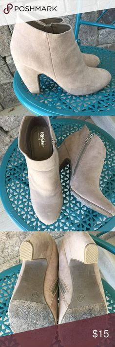"""Size 10 curved covered heel taupe booties Size 10. About a 4"""" heel. Taupe microfiber Mossimo zippered booties. Cute with those summer skirts, shorts, long boot cut jeans. Gently used and lived by me a few times. Smoke free clean home with a shed free little pooch. Posh Rules Rule! Mossimo Supply Co Shoes Ankle Boots & Booties"""