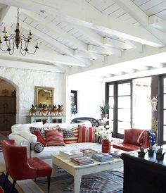 Colour painting and Color palette makers Tau Paint Schemes Of Living Room In Spanish New Spanish Style Homes Country House Decorating Of Living Room In Spanish Style At Home, Patriotic Room, Living Room Decor, Living Spaces, Decor Room, Living Area, Dining Room, California Decor, California Flag