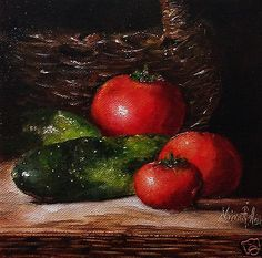 Original Oil Painting by Nina R.Aide.Tomatoes. SOLD