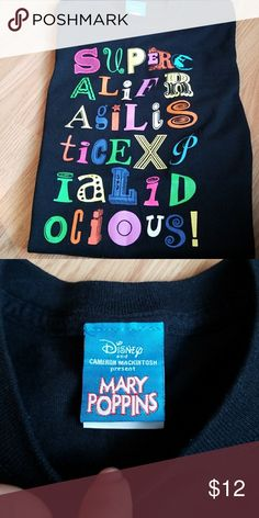 Disney's Mary Poppins tee shirt size Medium Mary Poppins black supercalifragilistexpalidocious t shirt. Tops Tees - Short Sleeve