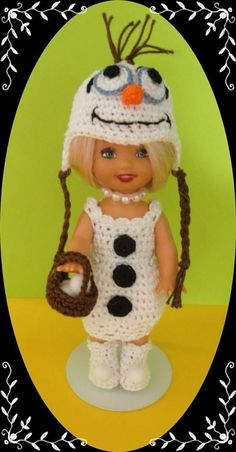Crochet Doll Clothes Ice Snowman Outfit Frozen Olaf