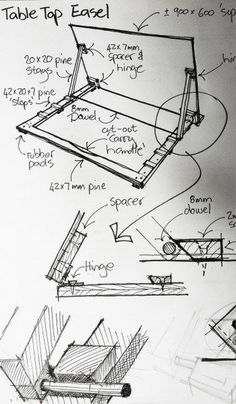 Lightweight Portable Table-Top Artists Easel Lightweight Portable Table-Top Artists Easel: …from timber offcuts and using hand tools only.As I have space limitations, I needed an easel that isn't too Art Studio Room, Art Studio Design, Art Studio At Home, Drawing Desk, Drawing Board, Home Art Studios, Portable Table, Portable Drafting Table, Art Studio Organization