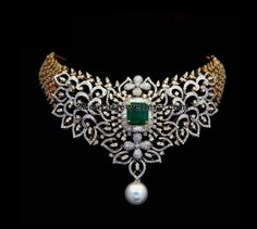 Exclusive Choker by Kothari Jewelry - Jewellery Designs Gold Earrings Designs, Necklace Designs, Diamond Necklace Set, Diamond Jewelry, Gold Jewelry, Sterling Jewelry, Gold Necklaces, Schmuck Design, Indian Jewelry