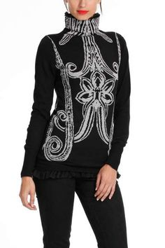 0e5d4af85e Desigual women s Vanda jumper from the Desigual by L range has a black  gauze lining visible