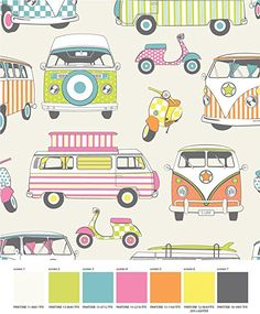 Muriva Designer VW Camper Van & Moped Scooter Hippy Retro Fabric 100% cotton Vintage designer Curtains, bedding, cushion covers fabric Roman Blinds PRESTIGE FASHION UK LTD (Lime/Orange): Amazon.co.uk: Kitchen & Home