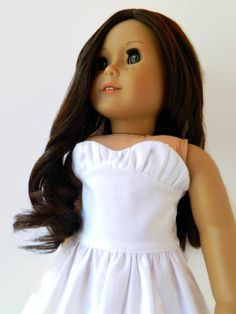 American Girl Doll Clothes White Cotton Strapless by 18Boutique