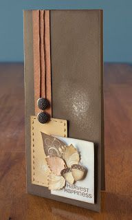 autumn card from jeanettelynton.com ... tall & thin ... browns ... artsy look ... acorns and leaves ... great card!